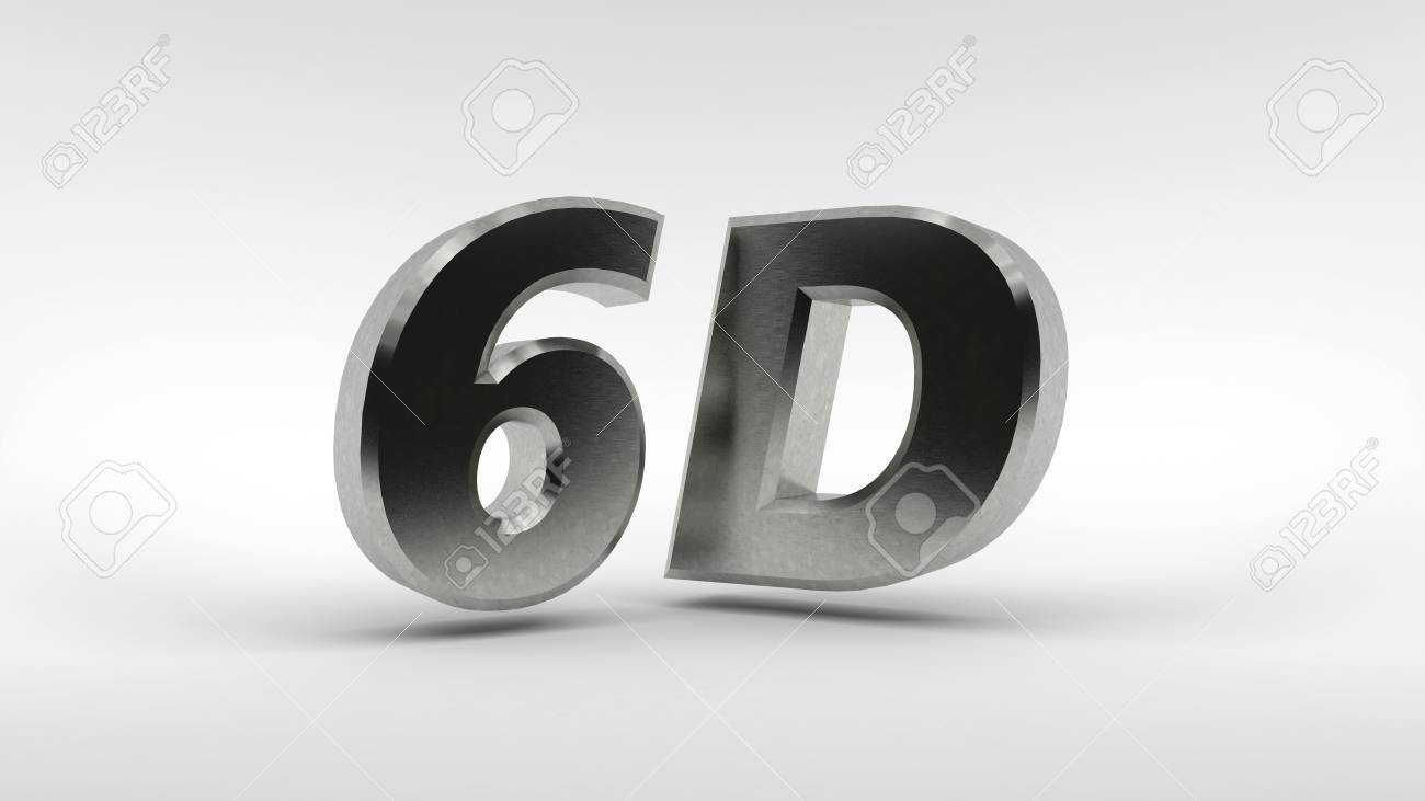 Metal 6D logo isolated on white background with reflection effect