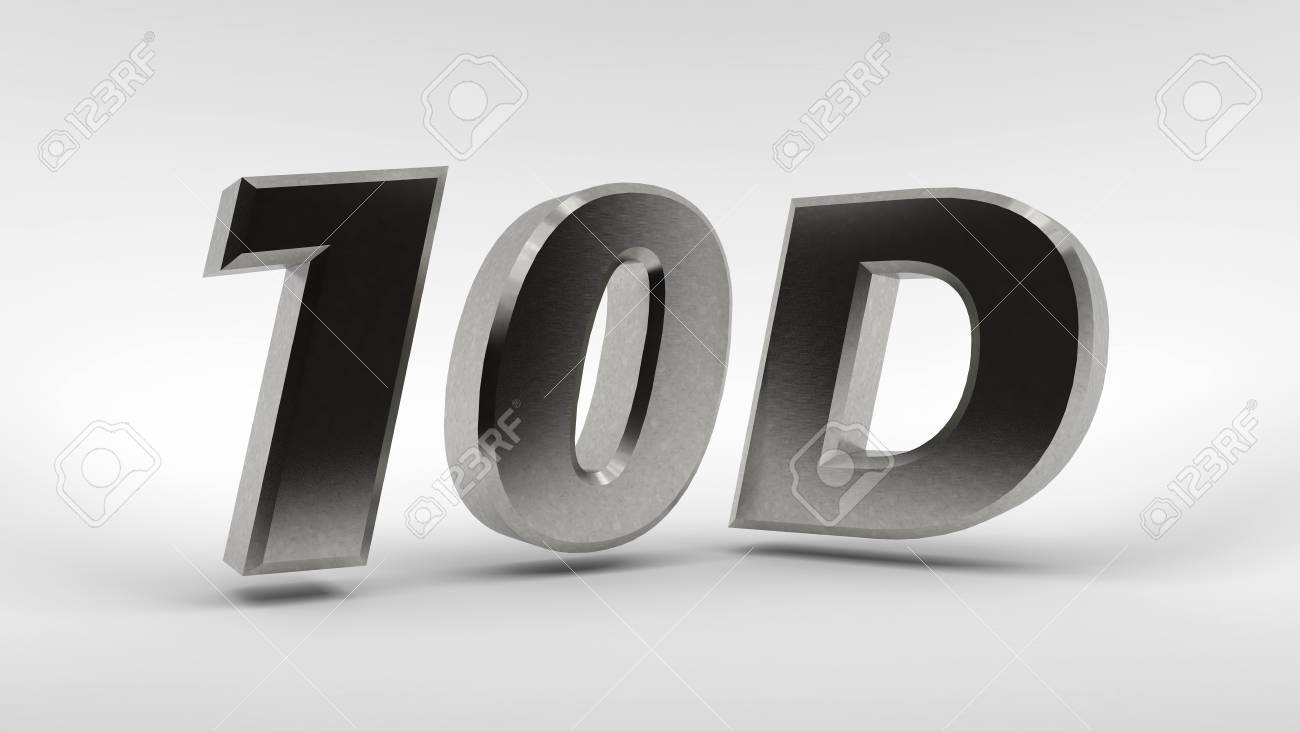 Metal 10D logo isolated on white background with reflection effect
