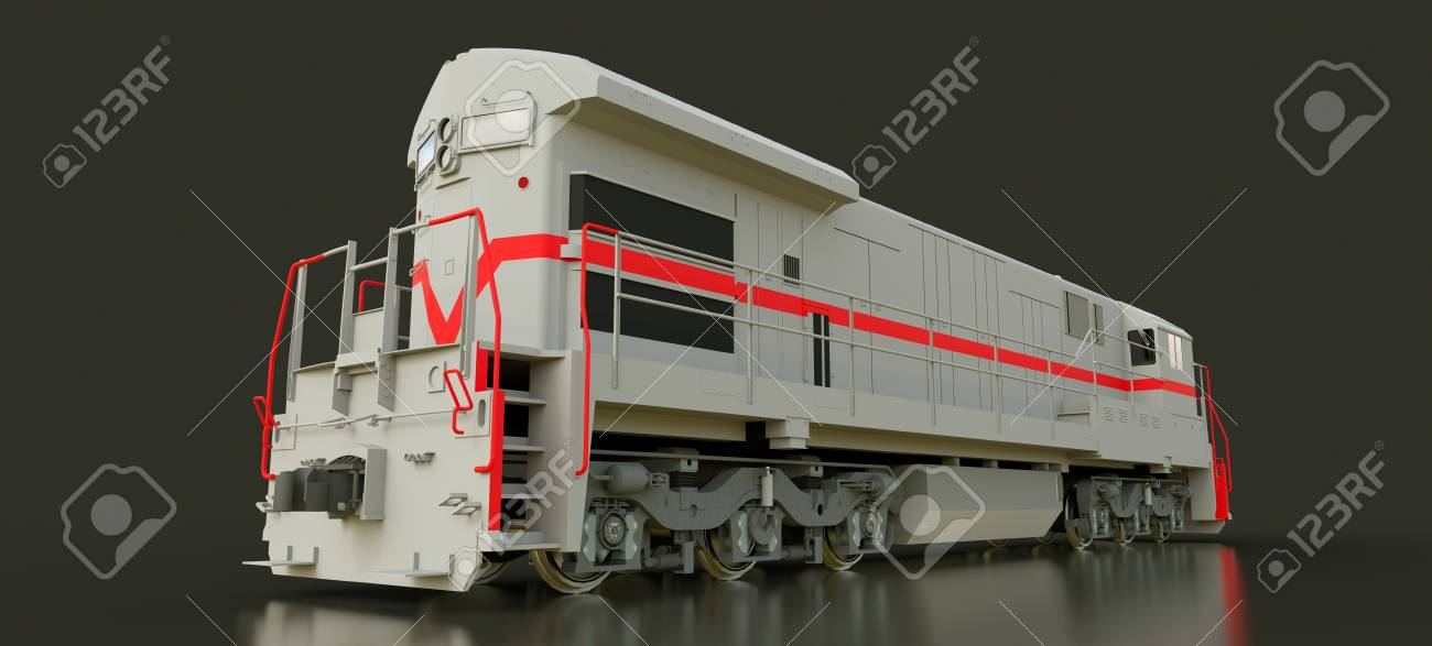 Modern gray diesel railway locomotive with great power and strength