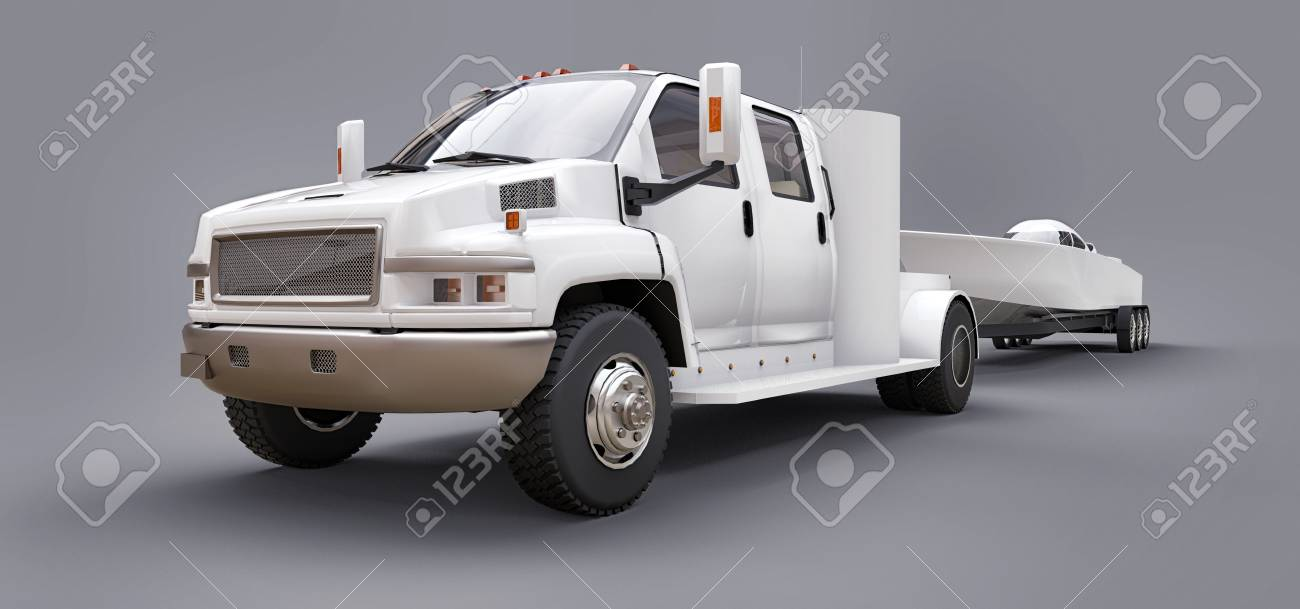 White truck with a trailer for transporting a racing boat on a grey background. 3d rendering - 120639219
