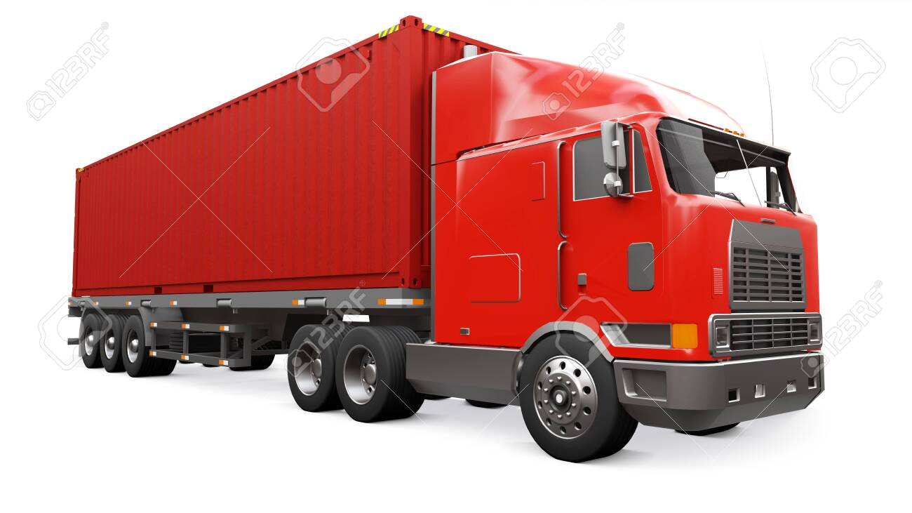 A large retro red truck with a sleeping part and an aerodynamic extension carries a trailer with a sea container. 3d rendering - 128299316