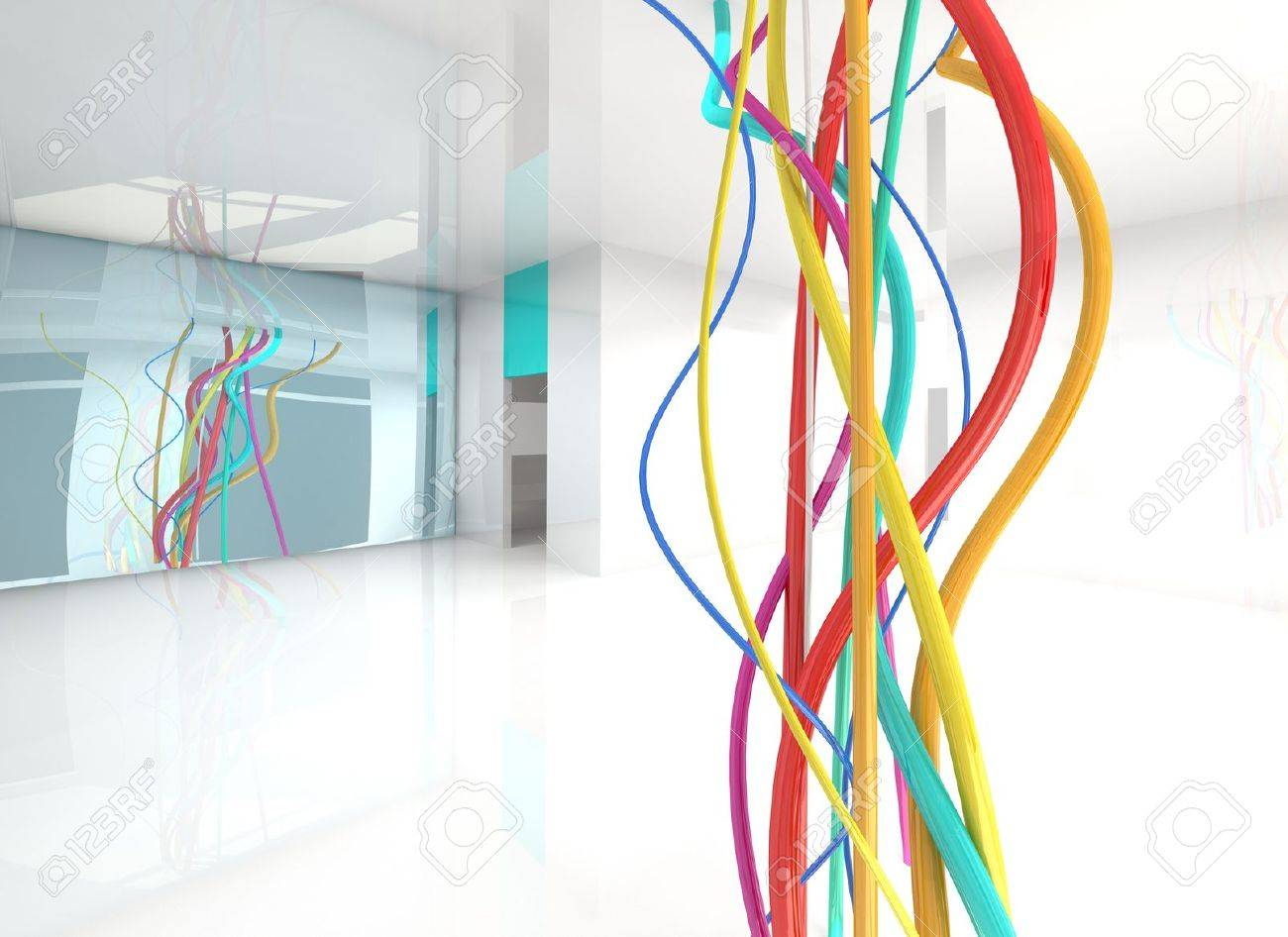 Color Wires In Abstract Interior Stock Photo, Picture And Royalty ...