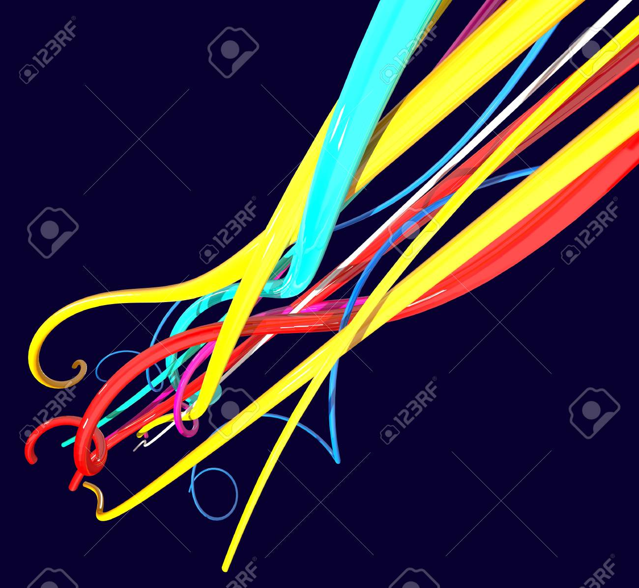Color Wires Isolated On Black Stock Photo, Picture And Royalty Free ...