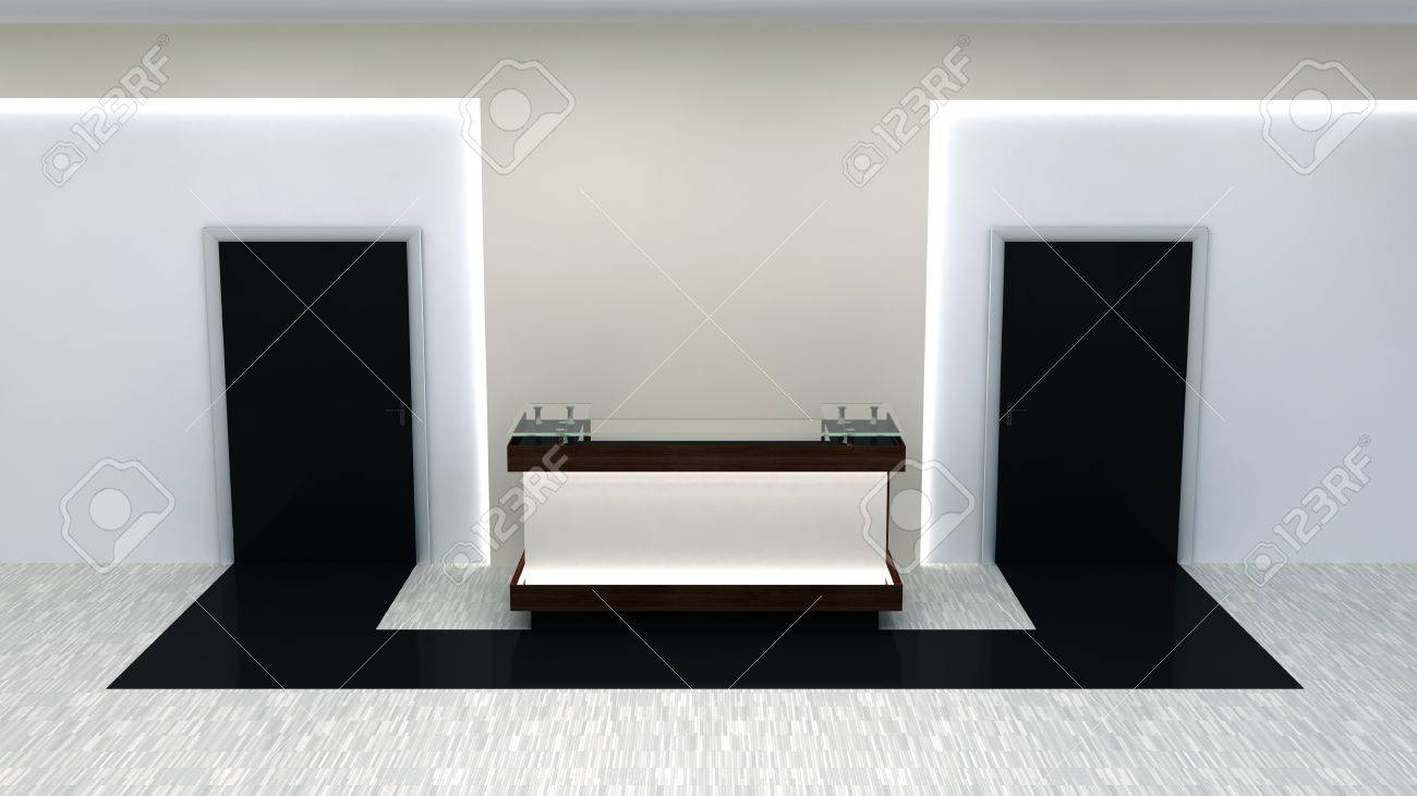 Office interior doors - Abstract Office Interior With Doors And Reception Counter Stock Photo 18954339