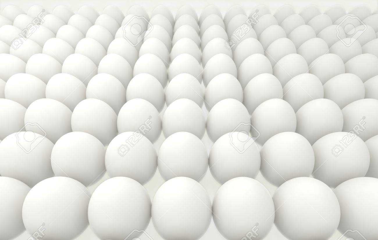 many eggs lined up in rows, high resolution 3d render Stock Photo - 18954345