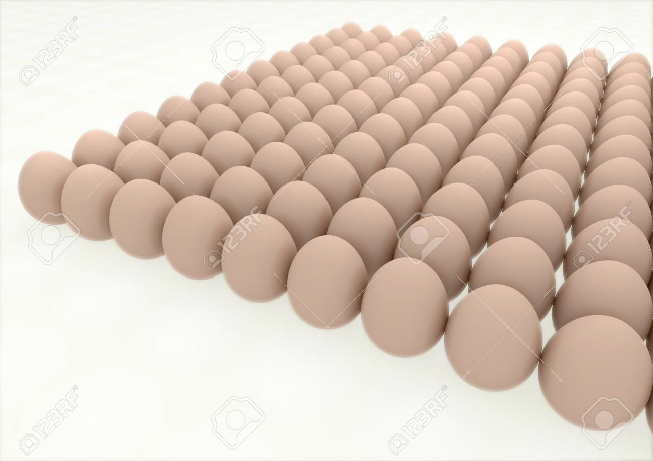 many eggs lined up in rows high resolution 3d render Stock Photo - 18954347