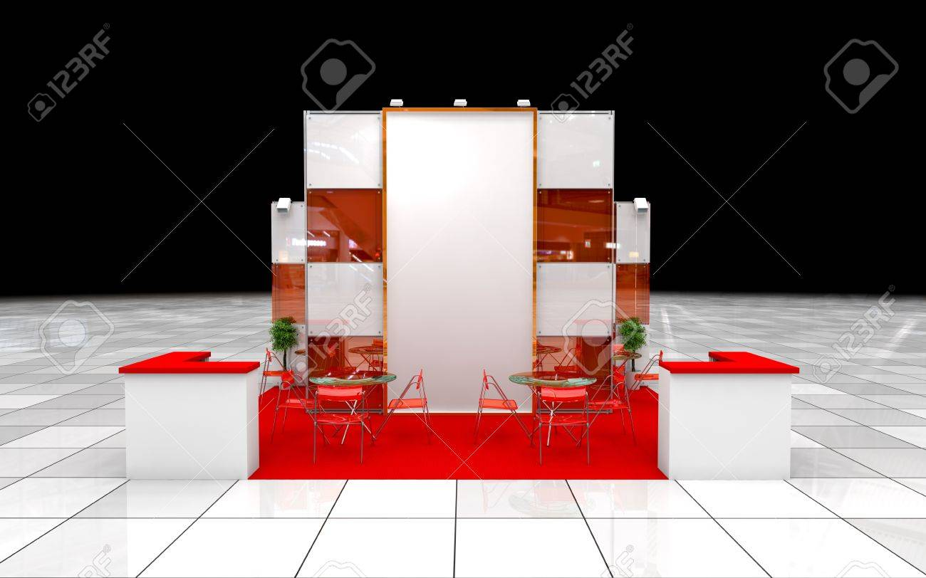 Modern Exhibition Stand Near Me : Modern exhibition stand with blank banner stock photo picture and