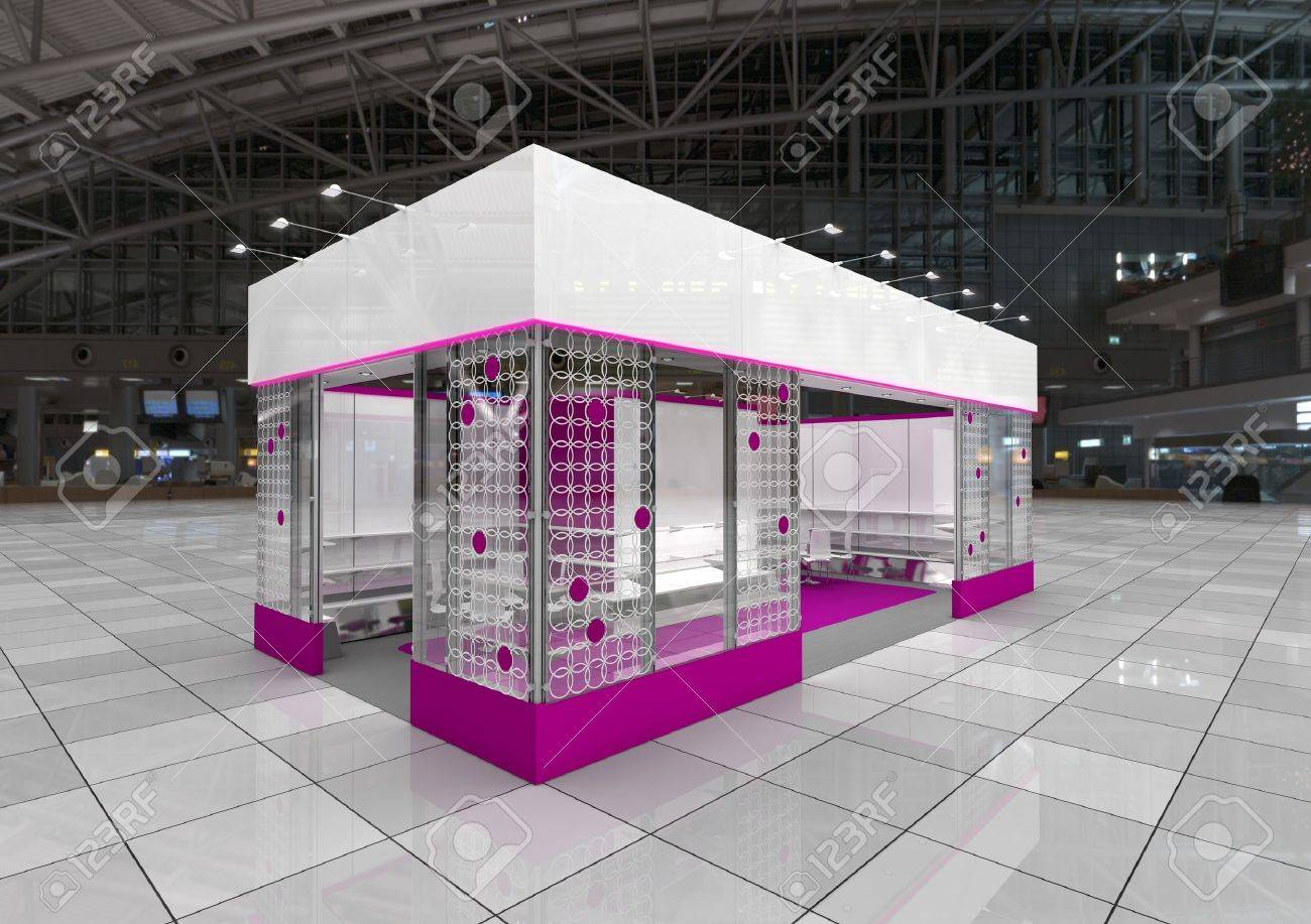 Modern Exhibition Stand Designs : Modern exhibition stand design with blank frieze stock photo
