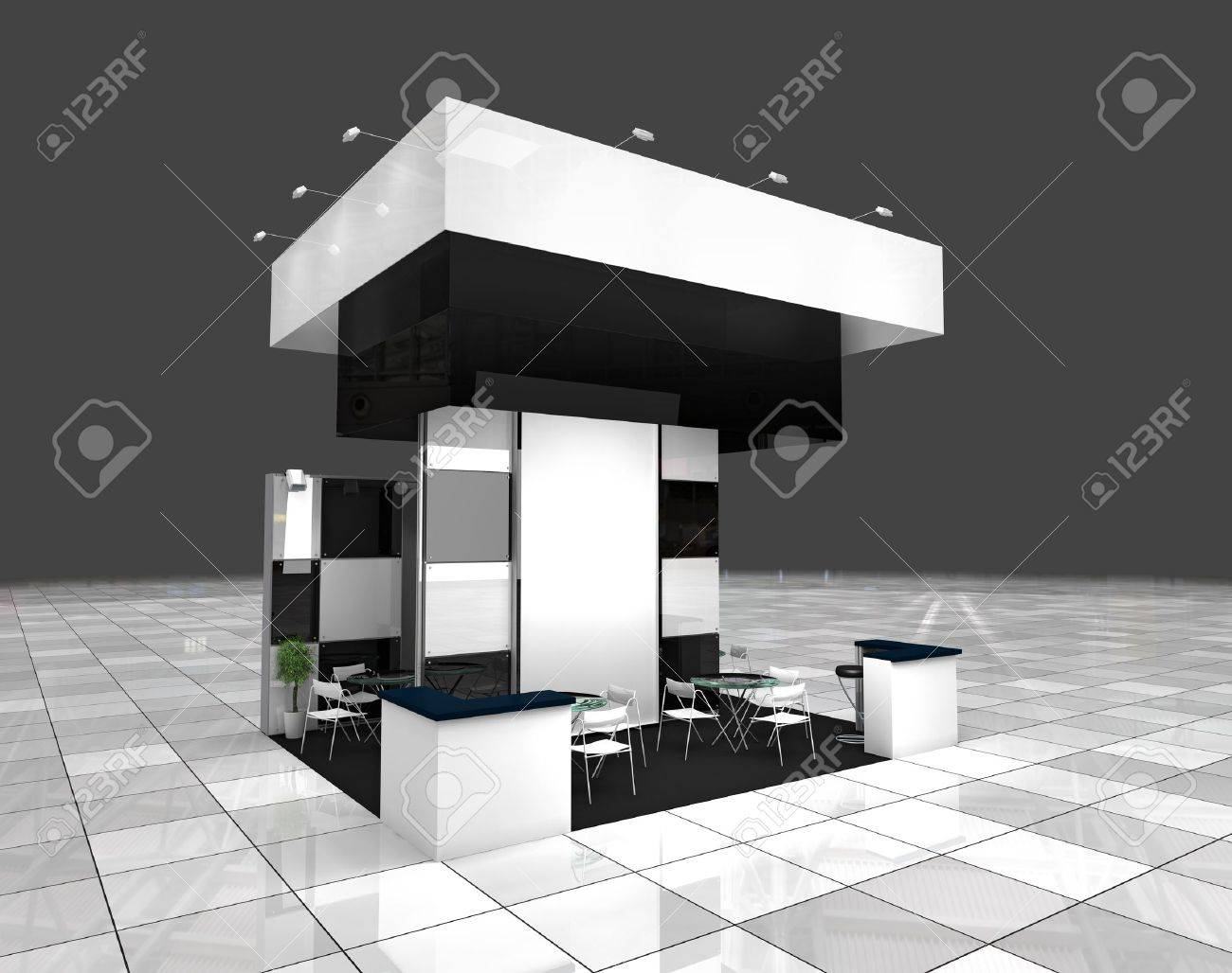 Modern Exhibition Stand Near Me : Modern exhibition black and white stand design project stock photo
