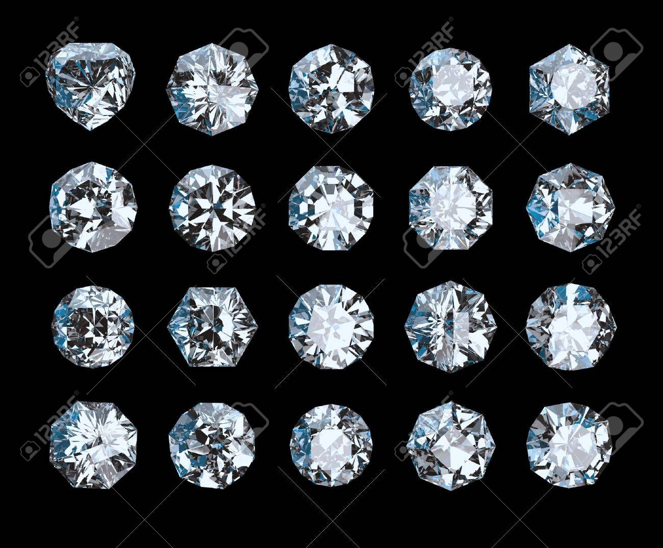 set of crystals isolated on black Stock Photo - 19098050