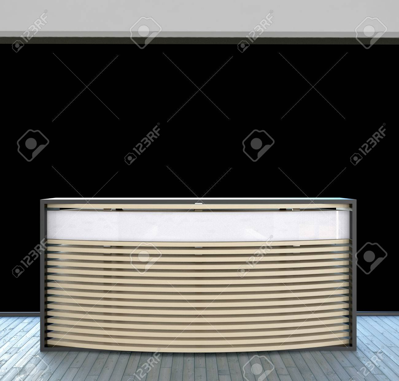 modern design reception counter in abstract business interior Stock Photo - 22467935