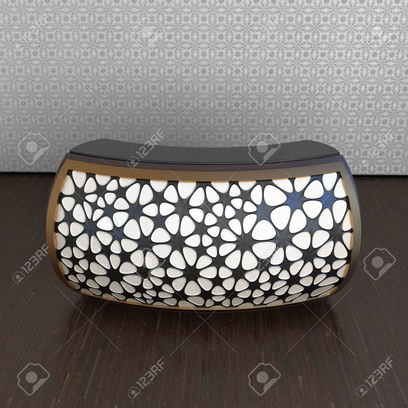 modern design reception counter in abstract interior Stock Photo - 22471497