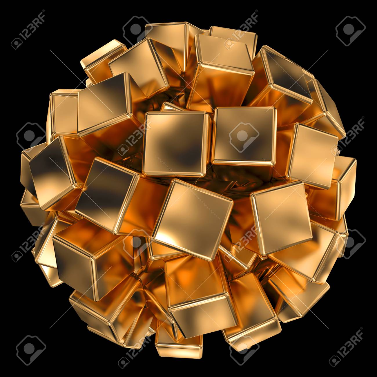 many golden cubes forming spherical shape isolated on black Stock Photo - 22471498