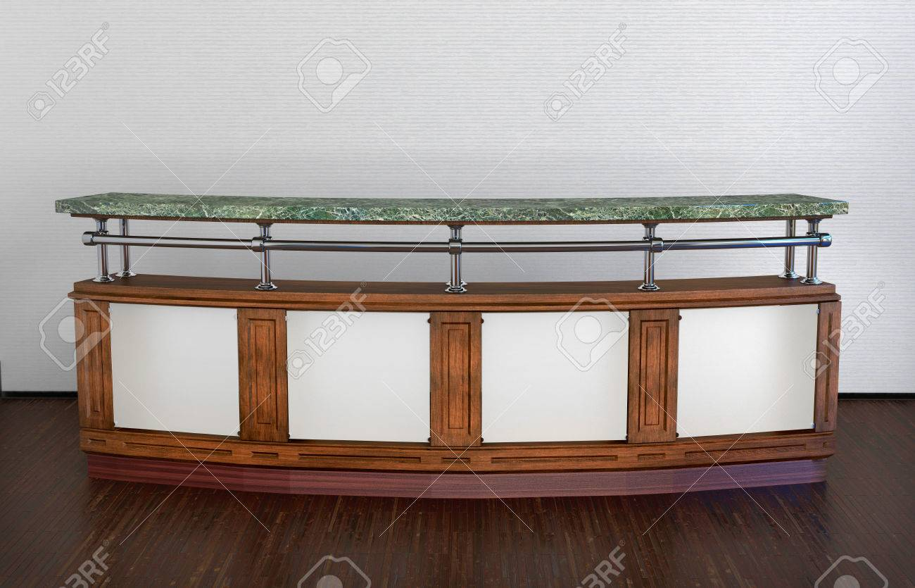 Classic Design Long Bar Counter In Abstract Interior Stock Photo   22471502