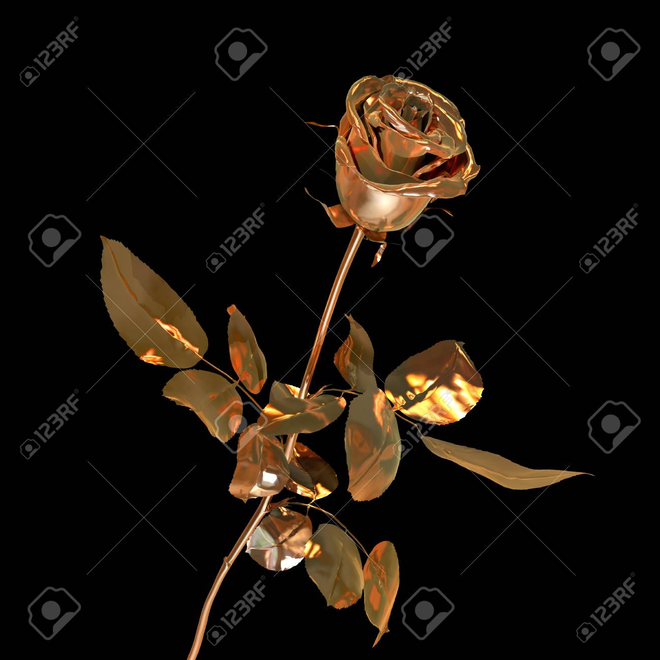 single rose made of fine gold isolated on black Stock Photo - 22471507