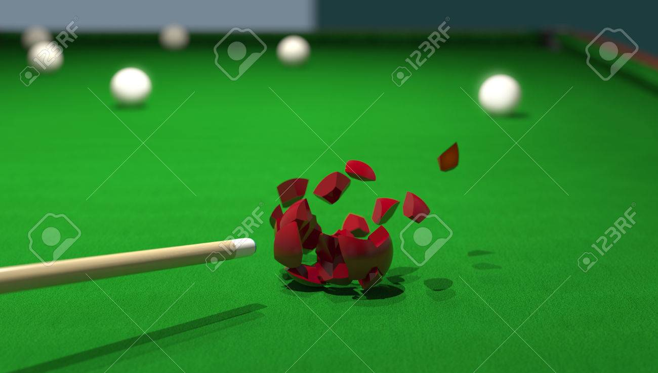 billiard ball smashing with a powerful strike from the cue Stock Photo - 22471512