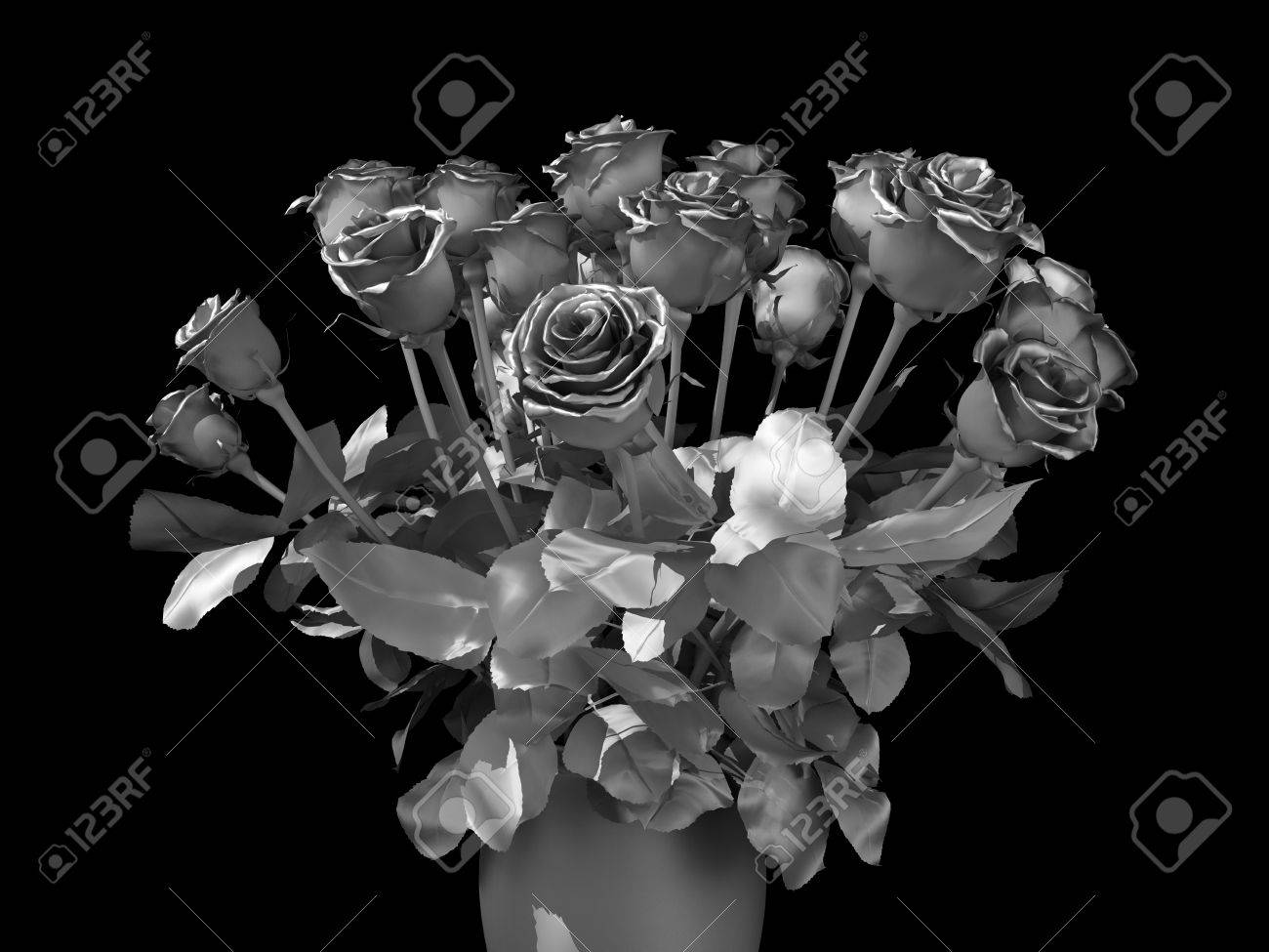 Silver Roses Bouquet On A Black Background Stock Photo