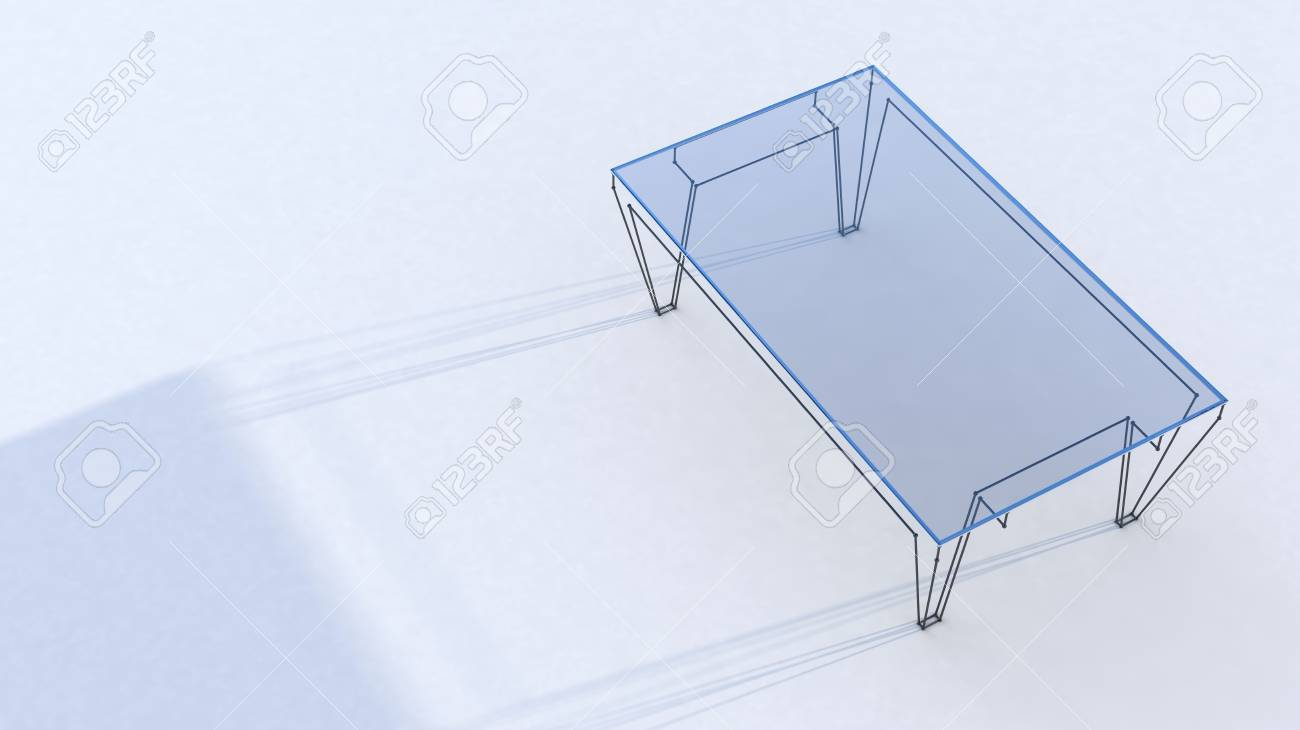 Conceptual Table With Glass Tabletop With Shadow On White Background Stock  Photo   22471824