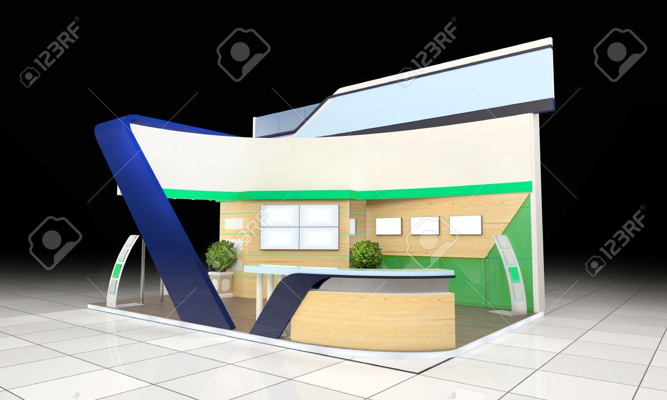 Modern Exhibition Stand Designs : Modern business exhibition stand design with blank banner and