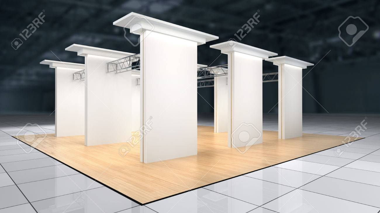 Exhibition Stand Lighting Xl : Abstract exhibition stand with laminate flooring and blank white