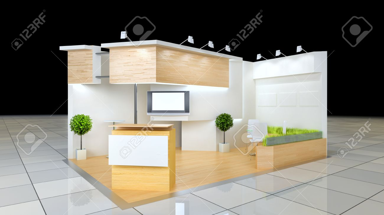 Exhibition Stand Reception : Modern design 24 squared meters exhibition stand with blank frieze