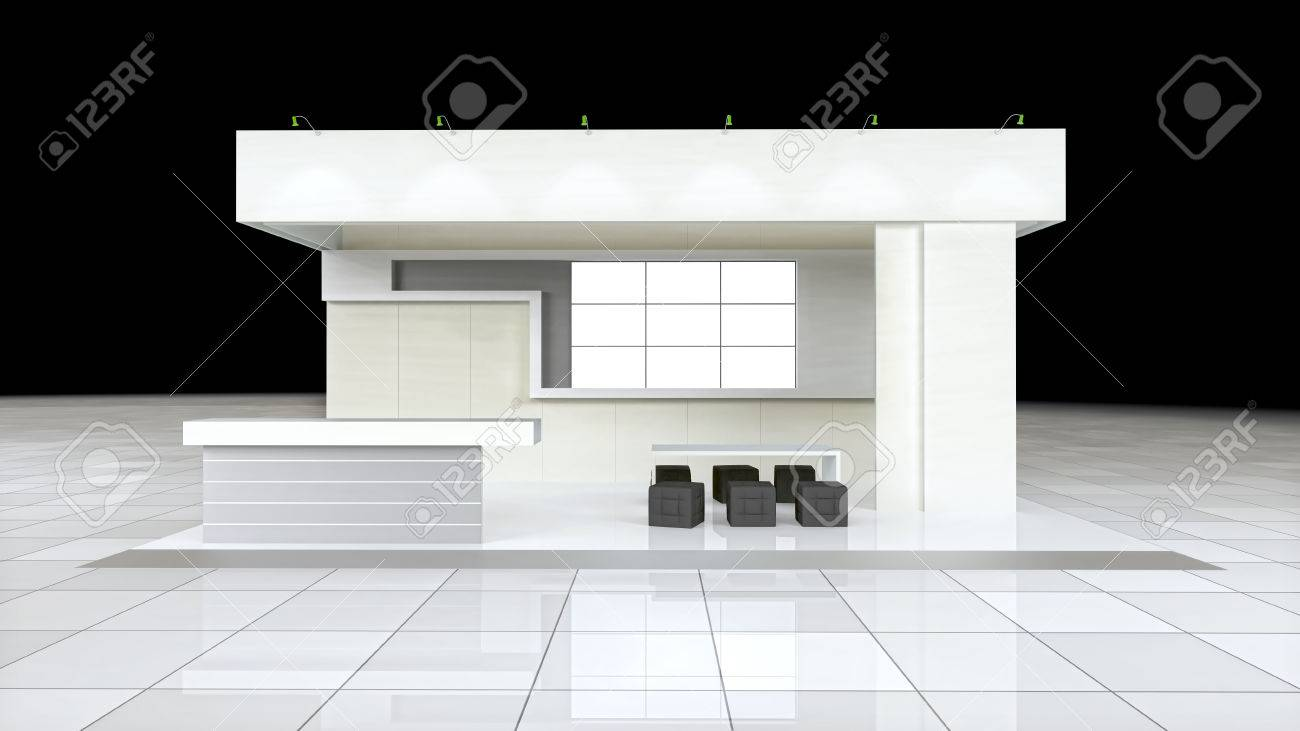 Exhibition Stand White : Modern design exhibition stand with blank white frieze and
