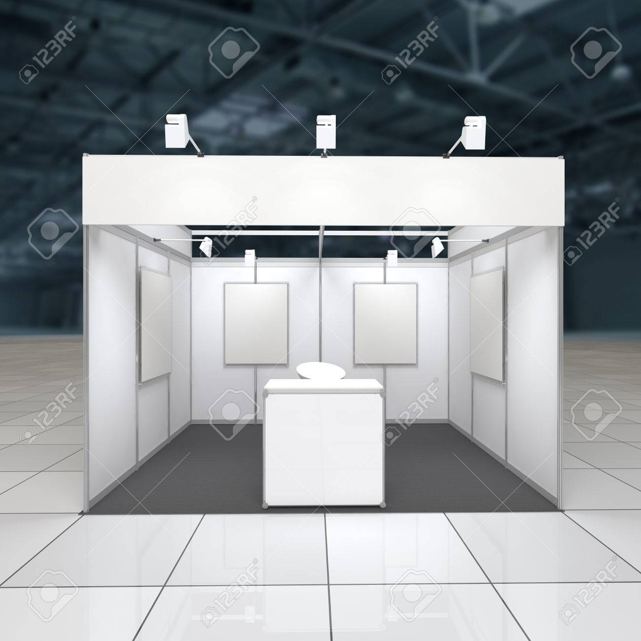 Modern Exhibition Stand Near Me : Modern exhibition stand 12sq.m. with blank frieze reception.. stock