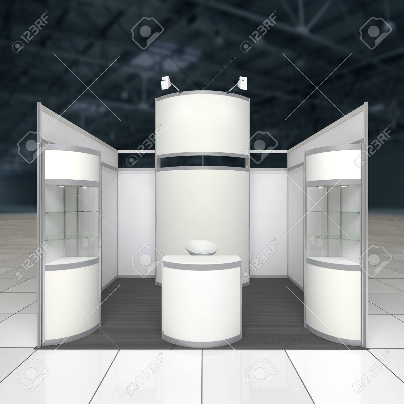 Exhibition Stand Reception : Simple exhibition stand with blank radial display reception counter
