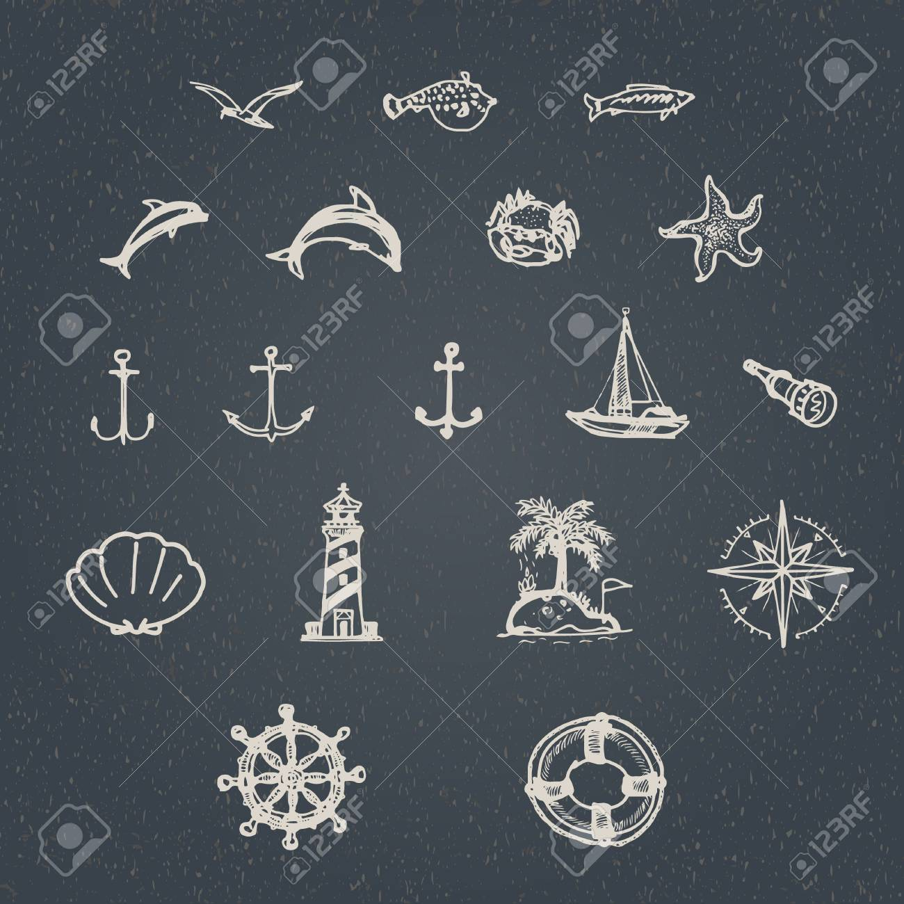 Vector Set Of Hand Drawn Vintage Nautical Signs And Symbols Royalty