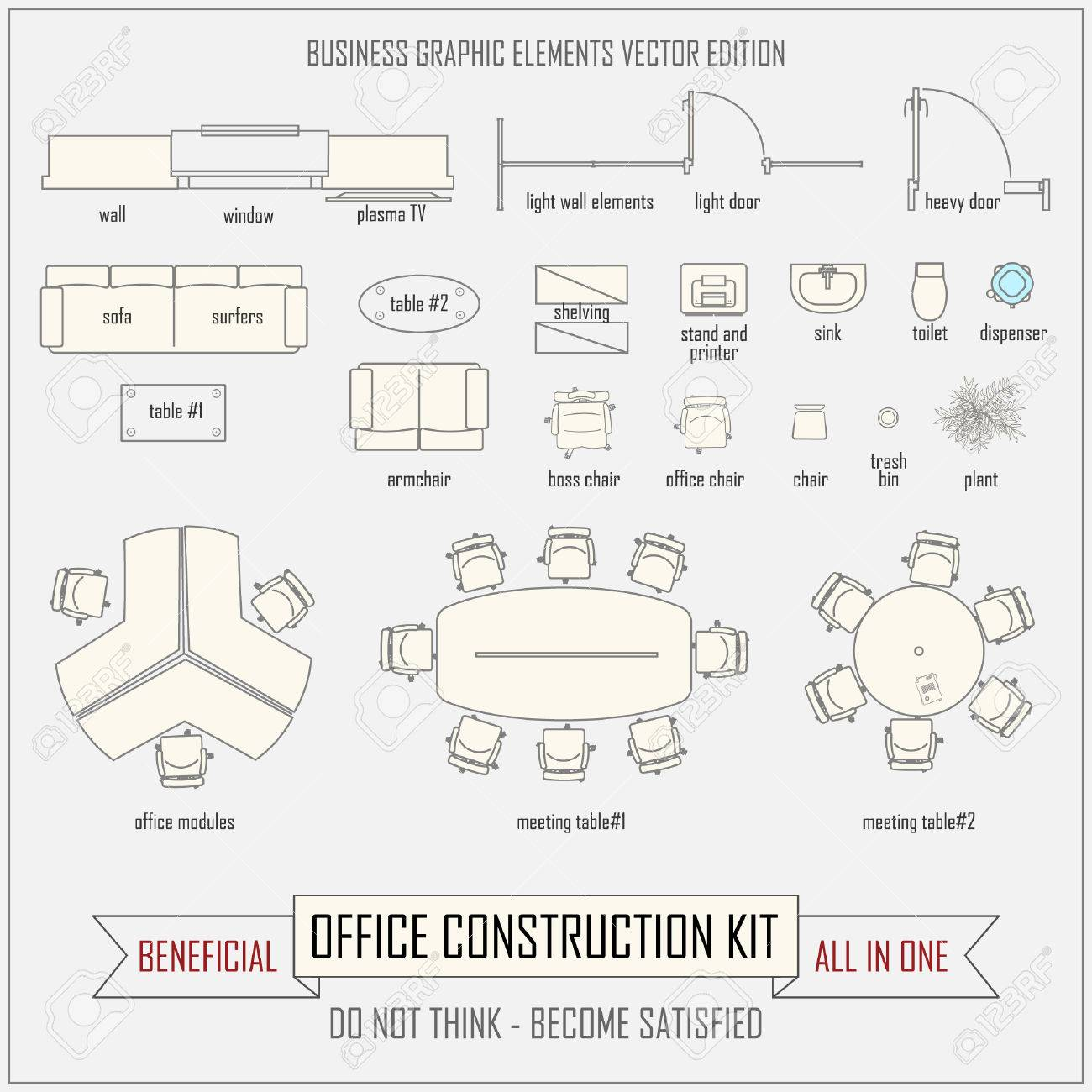 office layout. Office Design And Layout Vector Construction Kit Stock - 51157792 N