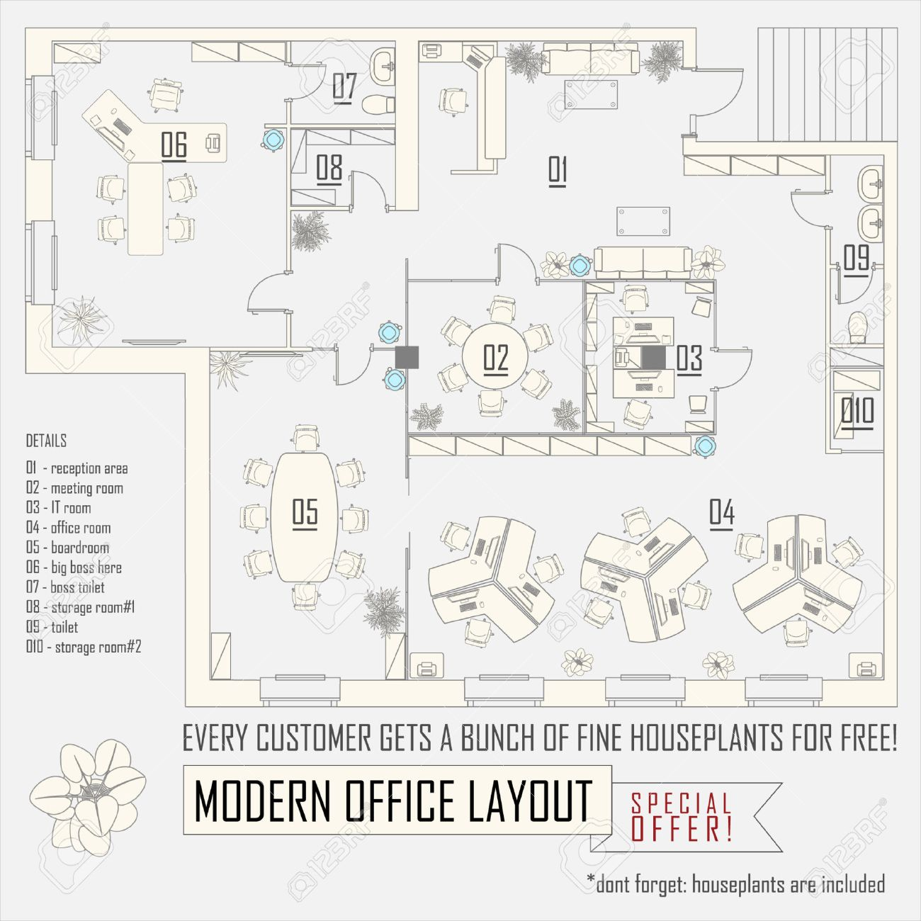 Modern office interior vector layout with furniture royalty free modern office interior vector layout with furniture stock vector 51157793 pooptronica