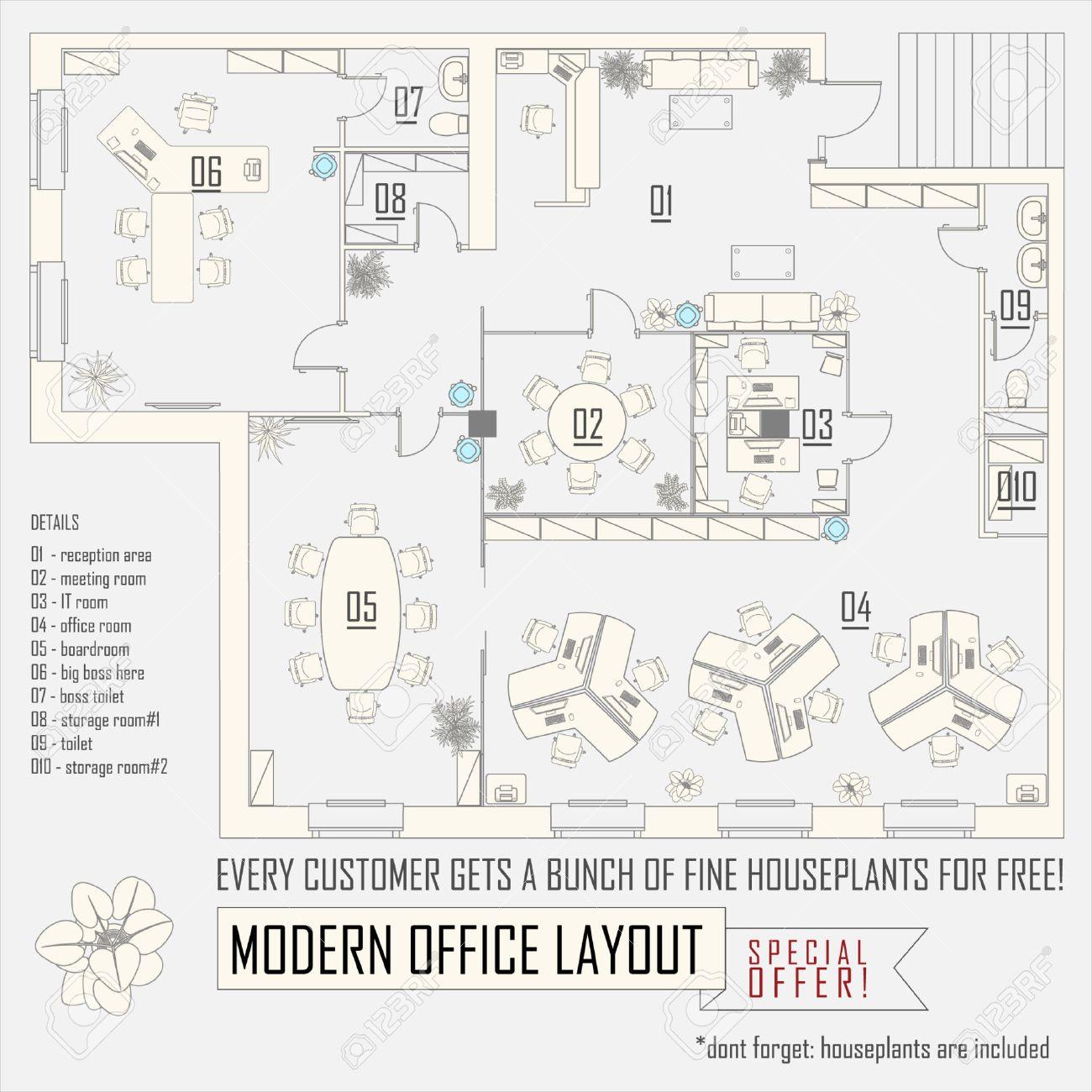 Oficinas Moderno Dise O Interior Vector Con Muebles Ilustraciones  # Muebles Dibujo Arquitectonico