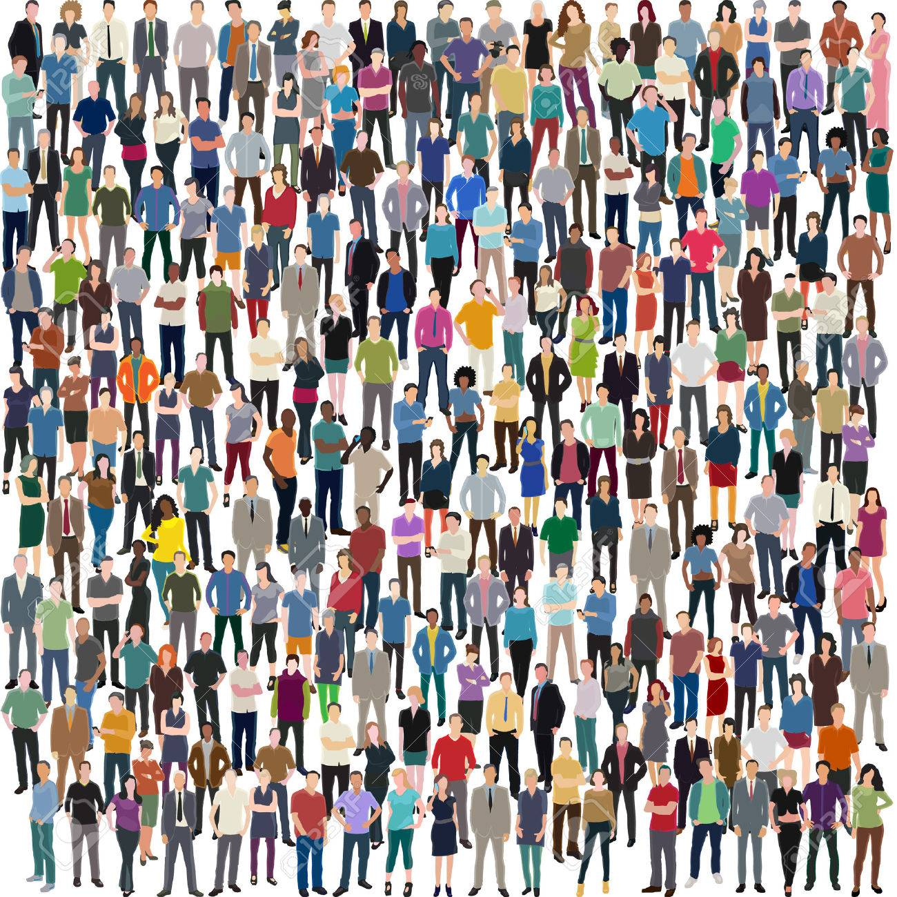 vector background with huge crowd of different standing people - 52490555