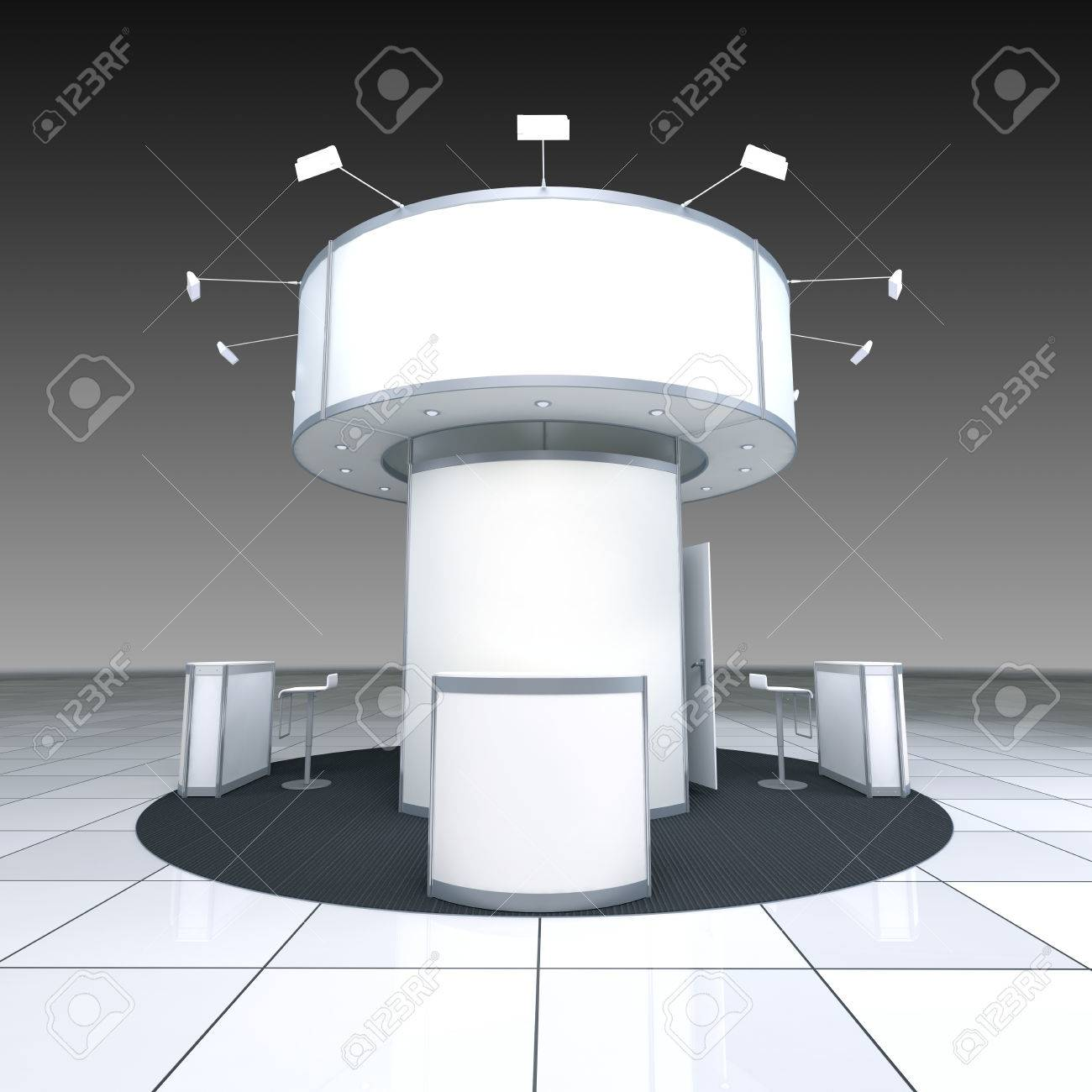 Simple Exhibition Stand : Abstract simple exhibition stand with radial blank frieze stock