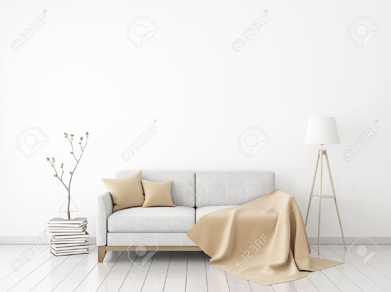 Interior Wall Mock-up With Fabric Sofa, Plaid And Pillows On.. Stock ...