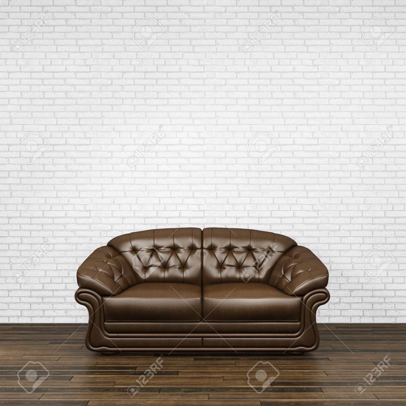 Dark Brown Leather Sofa Standing On Wooden Parquet Floor With ...