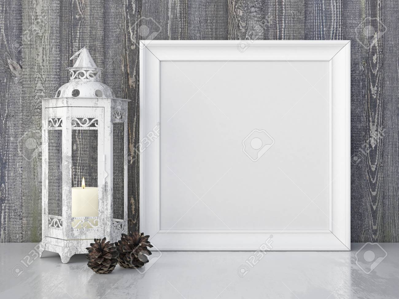 Vintage Interior Poster Mock Up With Square White Frame, Candle ...