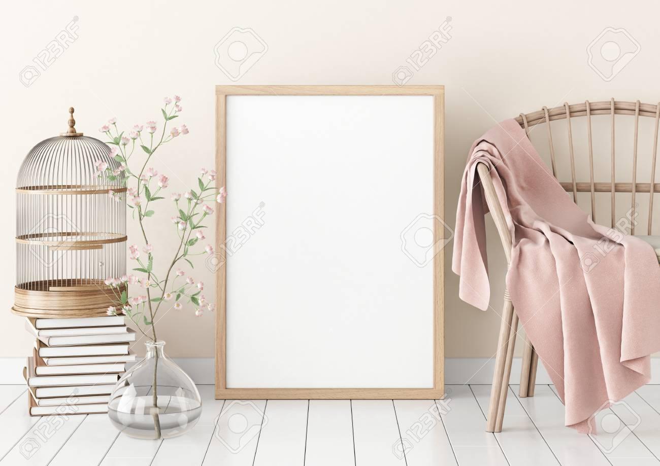 Innenplakatmodell Mit Leerem Holzrahmen Und Anlagen Auf Weißem ...