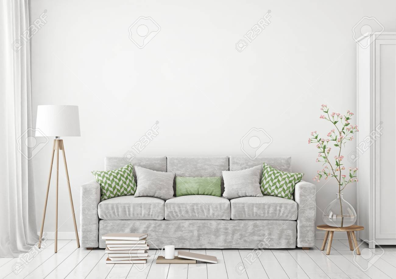 Livingroom Interior With Sofa, Pillows, Lamp, Books And Vase.. Stock ...