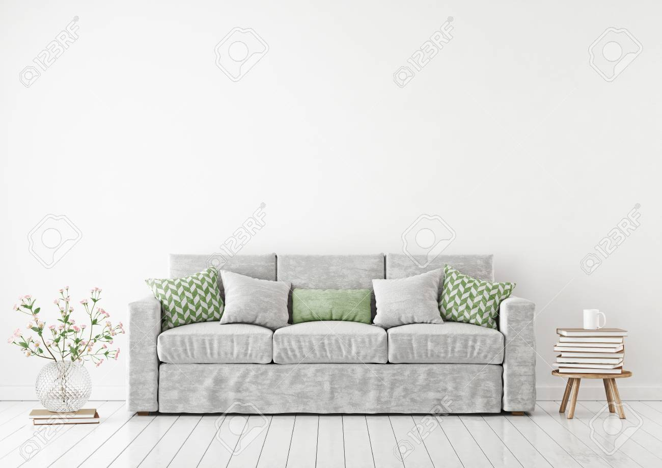 Super Empty White Wall Mockup With Sofa Pillows Books And Flowers Andrewgaddart Wooden Chair Designs For Living Room Andrewgaddartcom