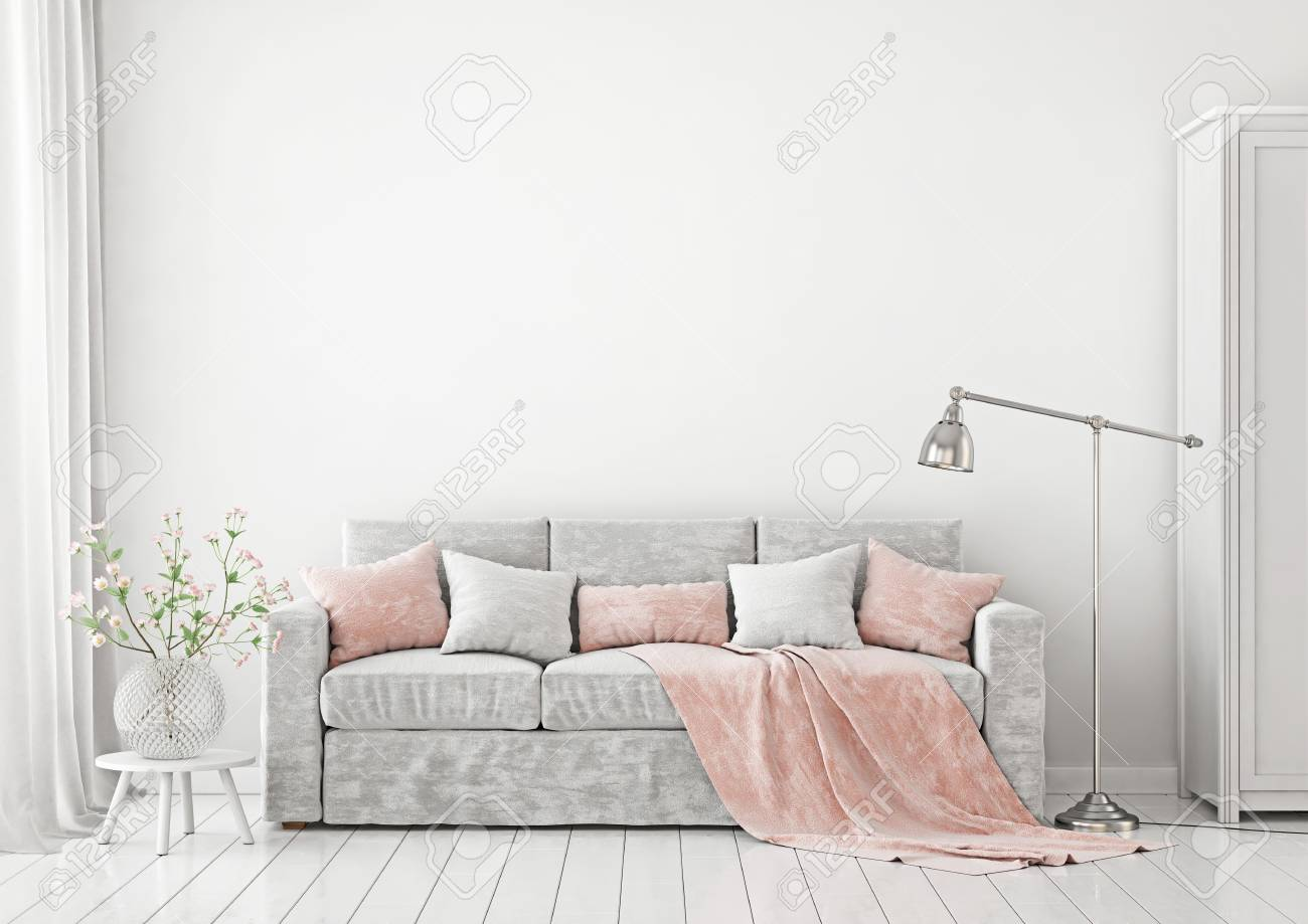 Livingroom Interior With Sofa Pillows Plaid Lamp And Vase Flowers On Empty
