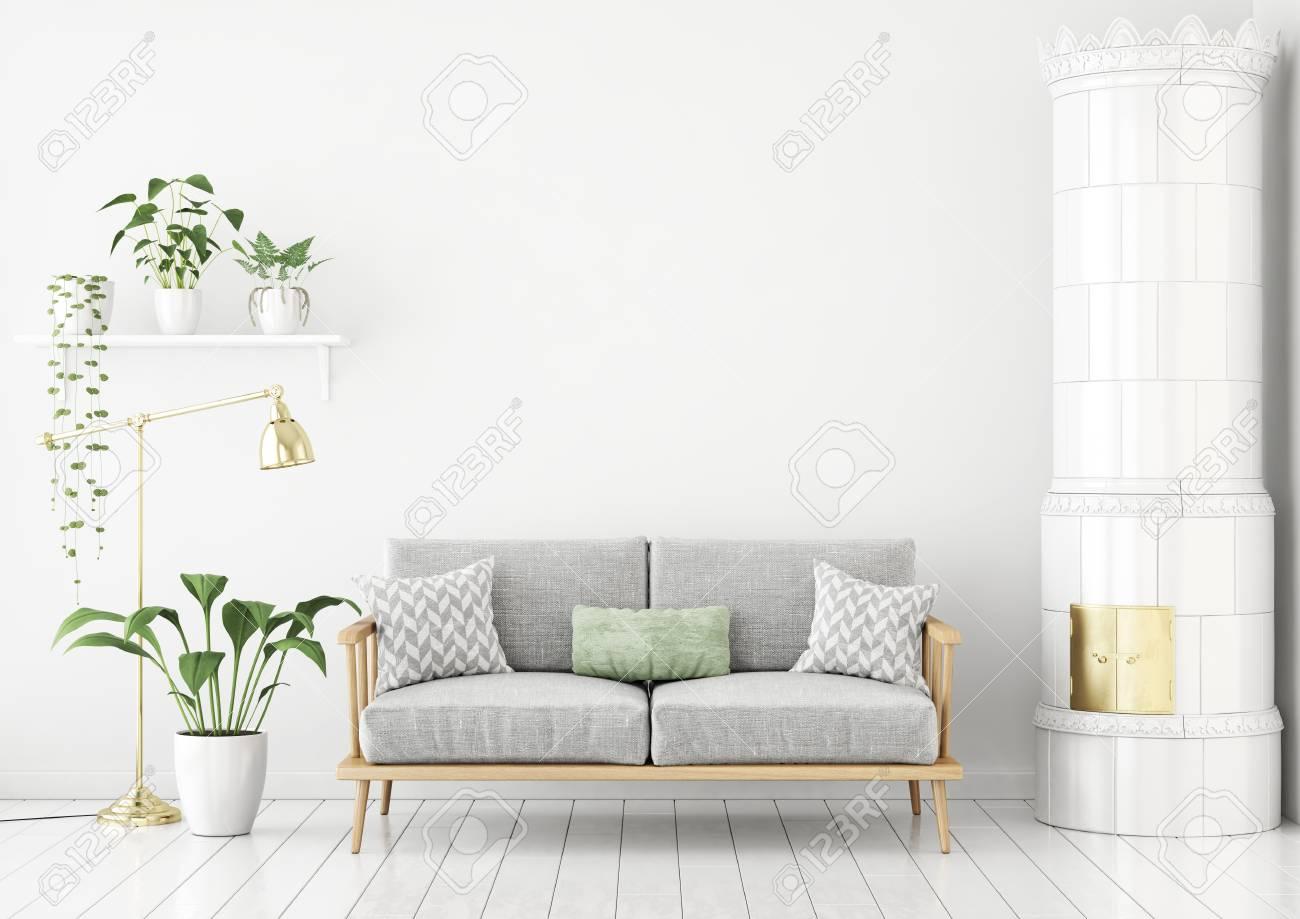 Scandinavian style livingroom with fabric sofa, pillows, green..