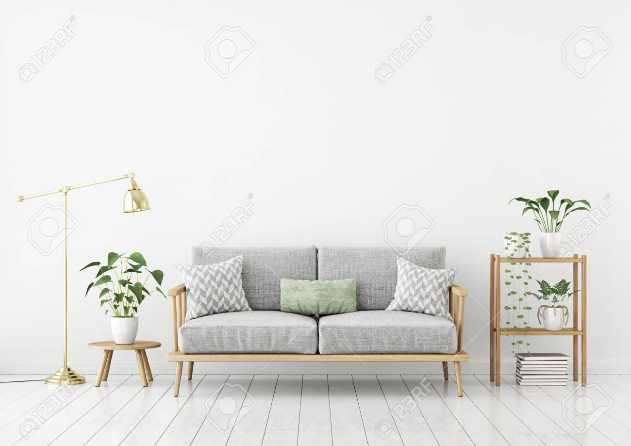 Scandinavian Style Livingroom With Fabric Sofa, Pillows, Golden ...