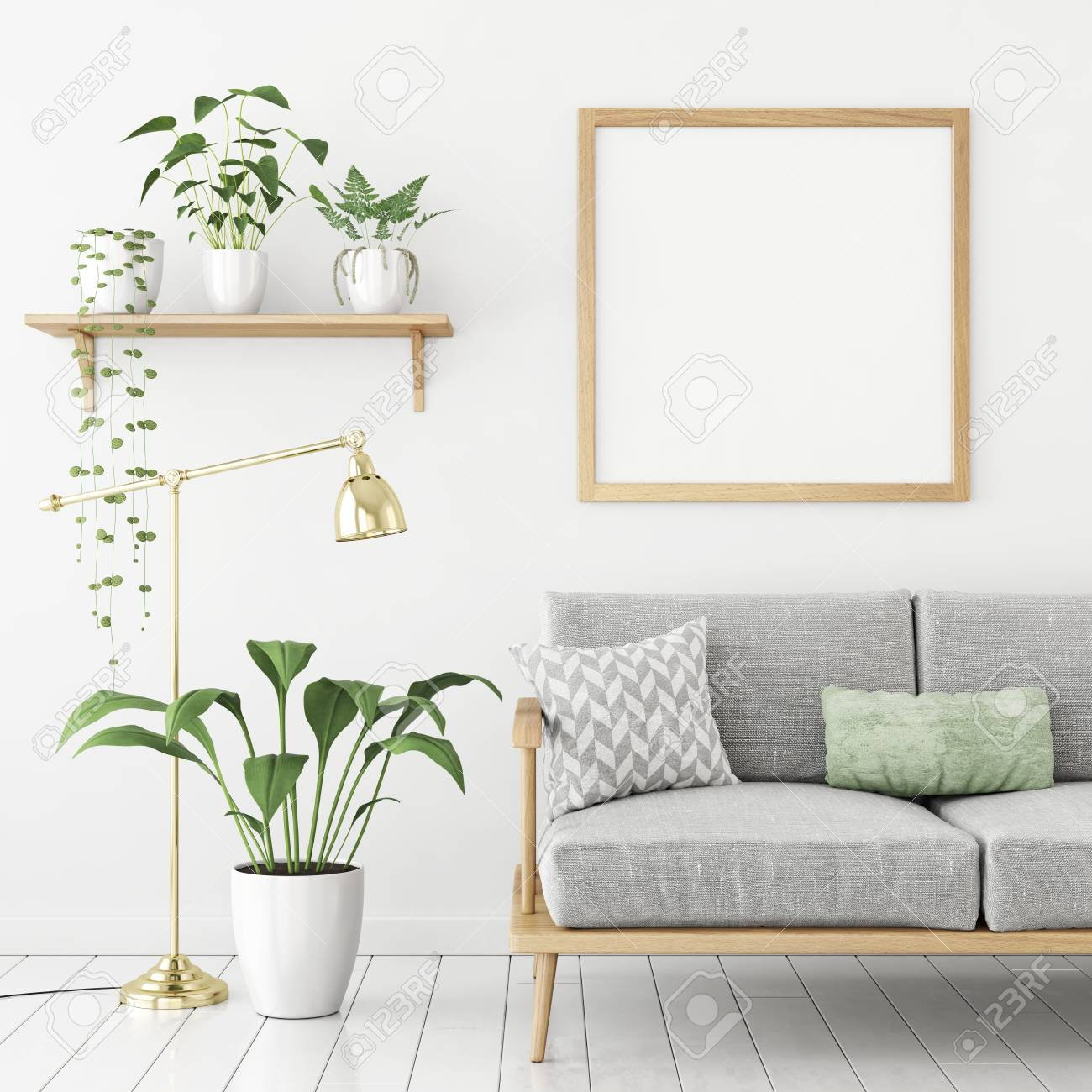 Square Poster Mock Up With Wooden Frame, Sofa And Green Plants ...