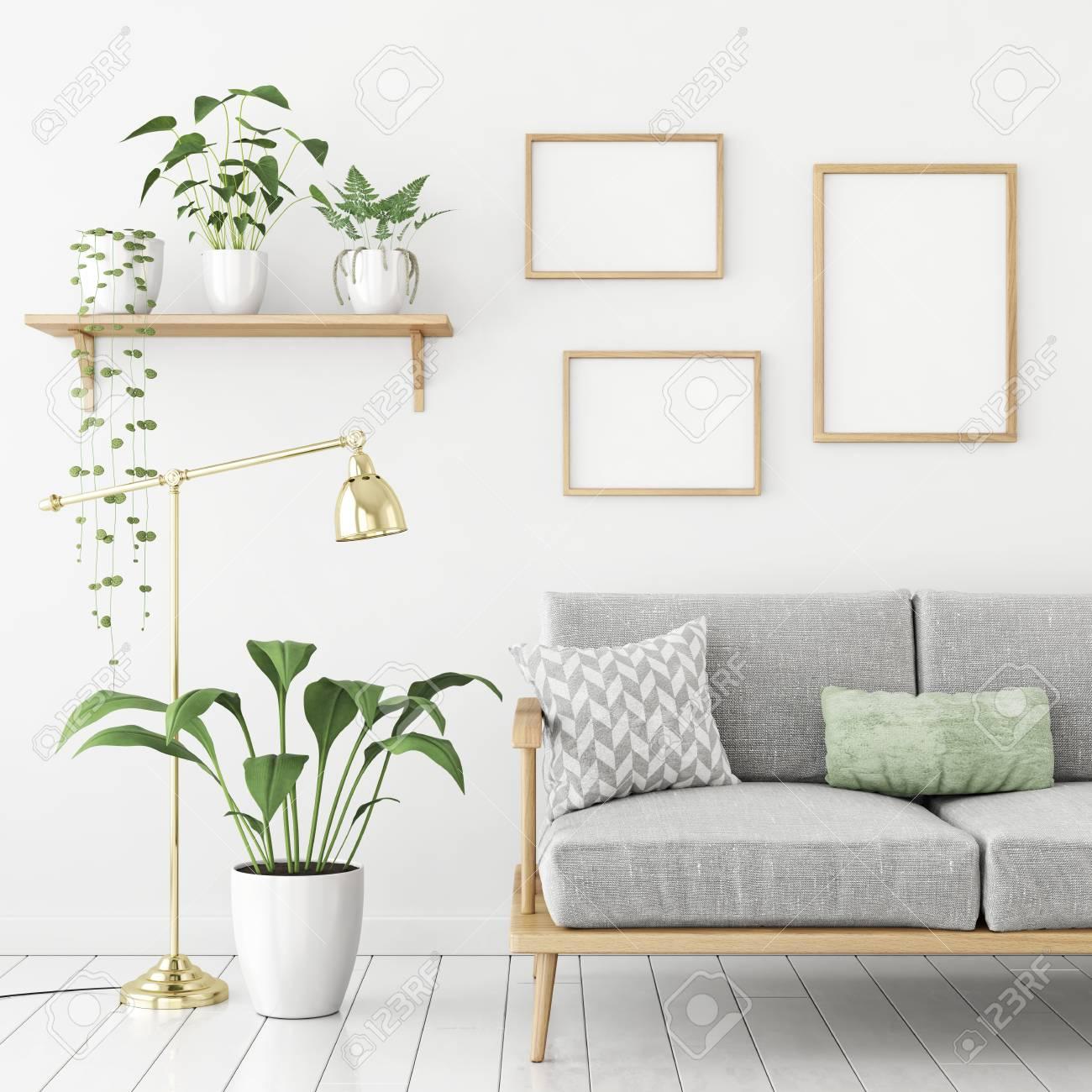 Three Frames Poster Mock Up In Scandinavian Livingroom Interior