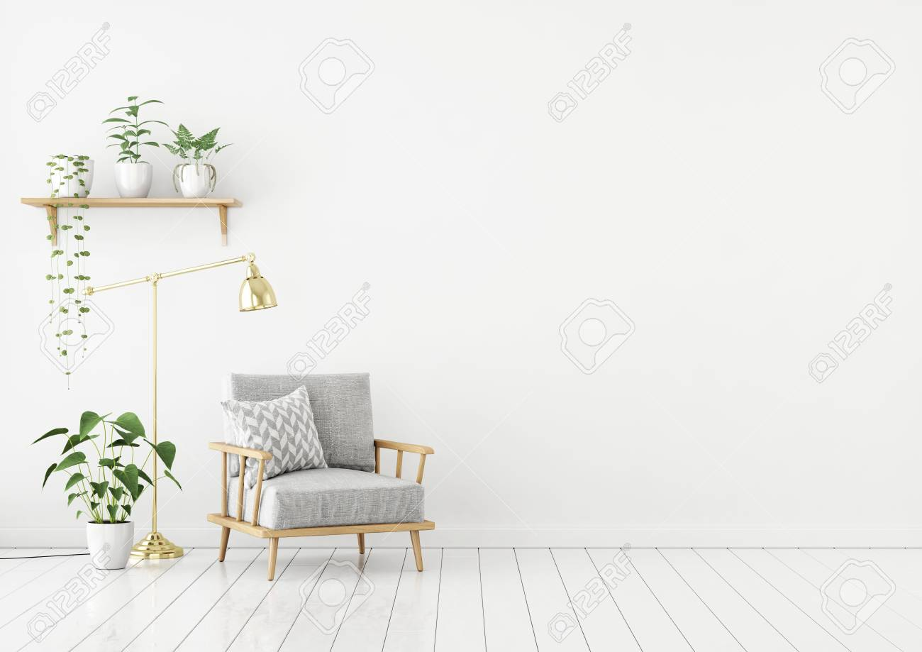 Scandinavian Style Livingroom With Gray Fabric Armchair, Golden Lamp And  Plants On Empty White Wall