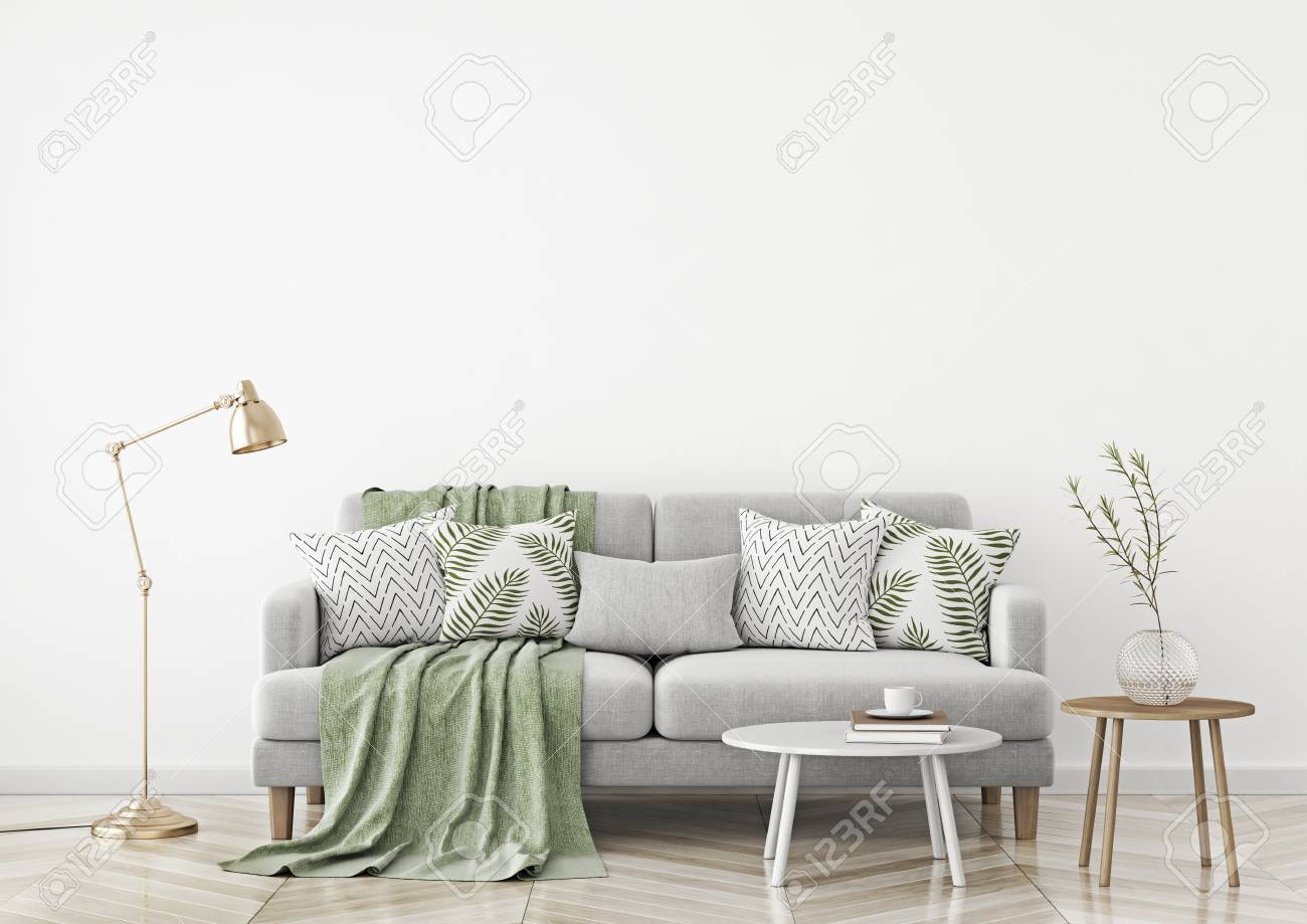 Scandinavian style living room with fabric sofa, pillows, plaid,..