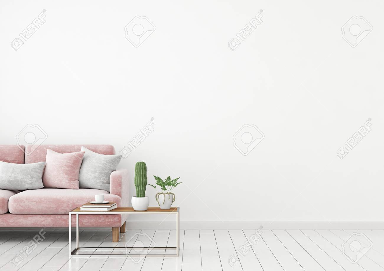 Livingroom Interior Wall Mock Up With Pink Velvet Sofa And Pillows Stock Photo Picture And Royalty Free Image Image 100744441