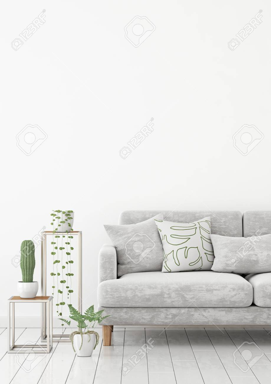 Scandinavian Living Room Interior Wall Mock Up With Gray Velvet Stock Photo Picture And Royalty Free Image Image 100744464