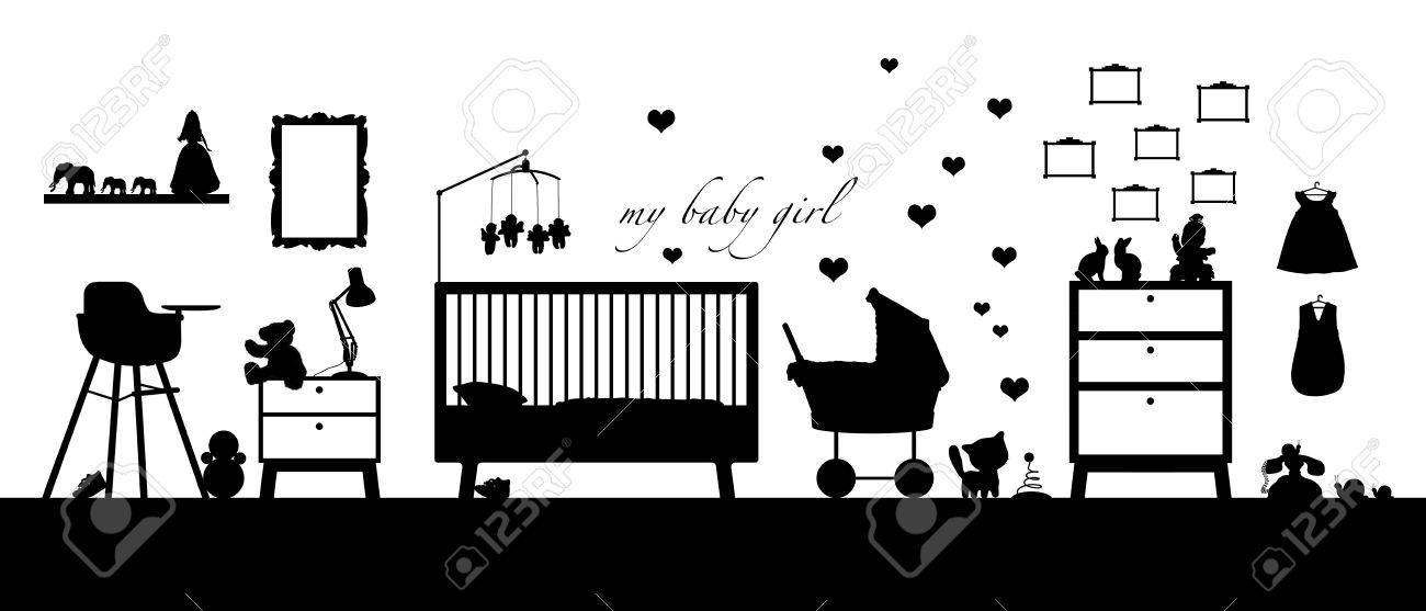 Black Silhouette Of An Interior Of A Baby Girl S Room With Some